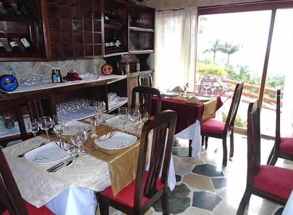 restaurant with wooden furniture