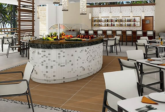 snack bar with furniture and buffet