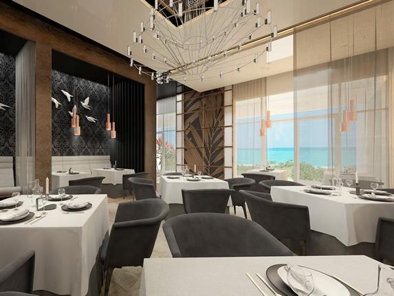 restaurante elegante con mantelería y vista al mar