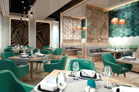 restaurante elegante con decoración en azul