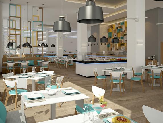 restaurante con mobiliario blanco y azul