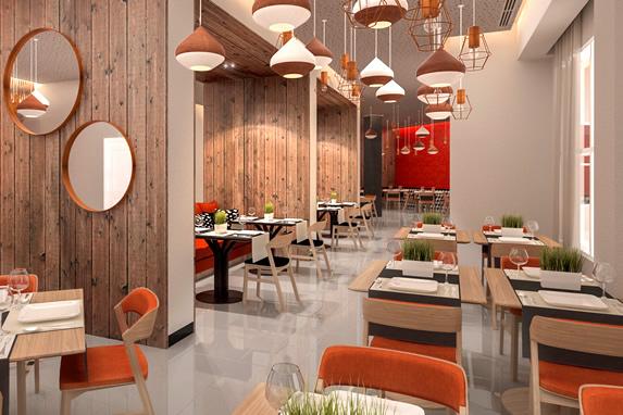restaurant with orange wooden furniture
