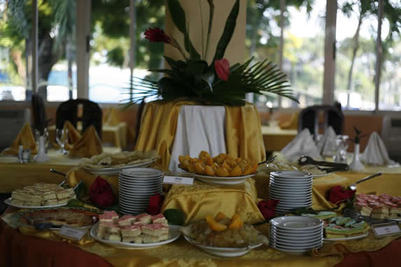 buffet table with food served