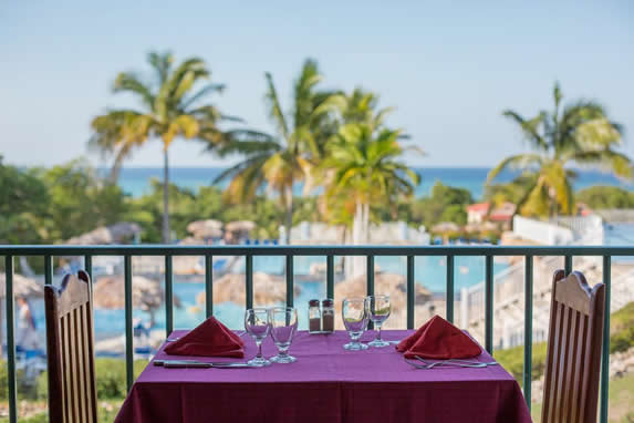 restaurant balcony overlooking the pool