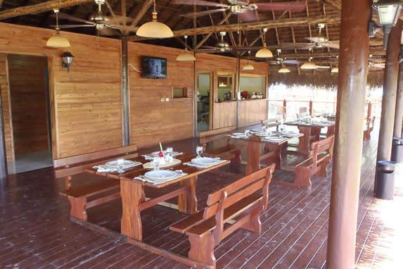 outdoor restaurant with wooden roof
