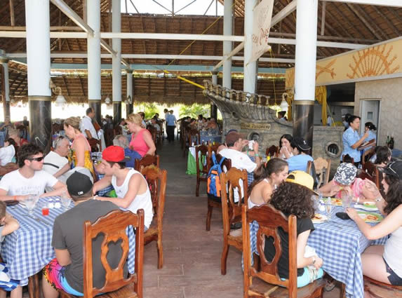 tourists having lunch in restaurant