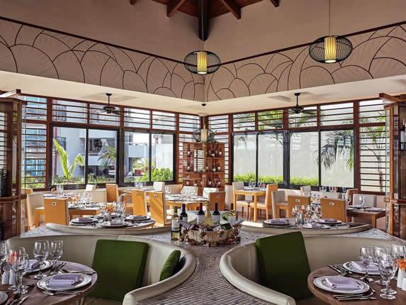 elegant restaurant with wooden windows
