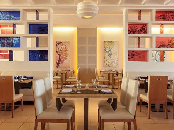 Elegant restaurant with marine decor
