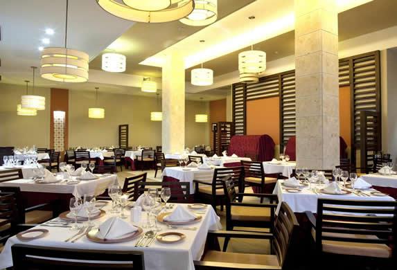elegant restaurant with wooden furniture