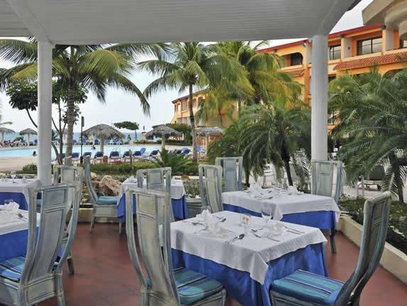 Outdoor restaurant in the hotel