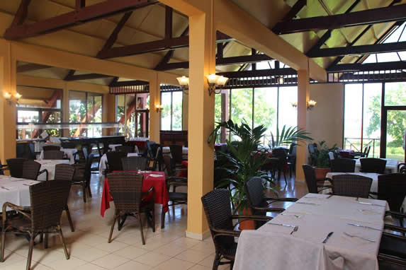 restaurant with furniture and table linen