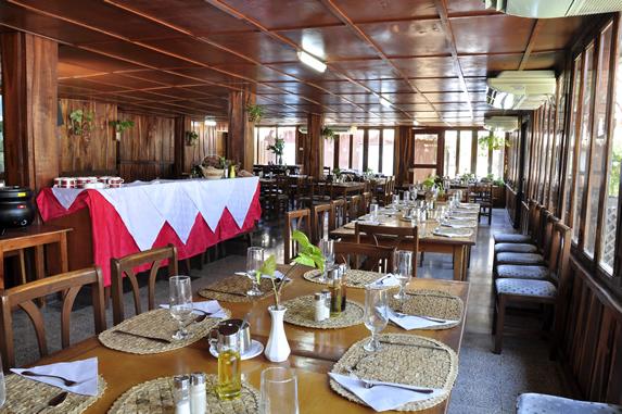 wooden restaurant with big windows