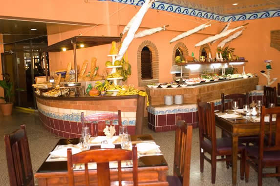 Buffet restaurant with wooden furniture