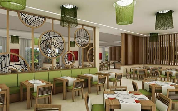 restaurant with wooden furniture and decoration