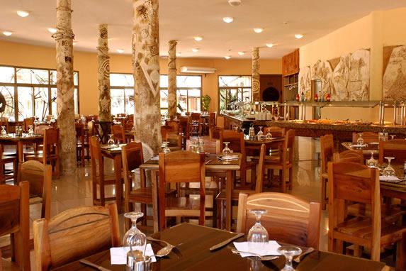 indoor restaurant with wooden furniture