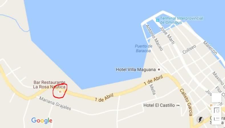 Bar-Restaurante La Rosa Naútica,Baracoa, Cuba,mapa