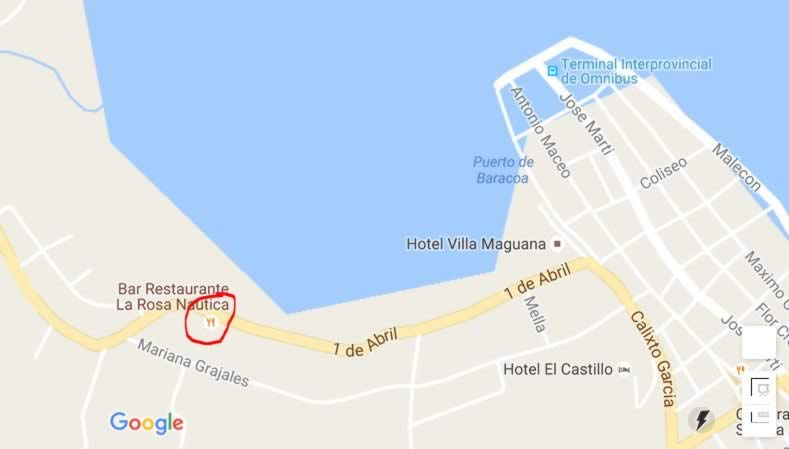 Bar-Restaurant La Rosa Naútica,Baracoa, Cuba,map