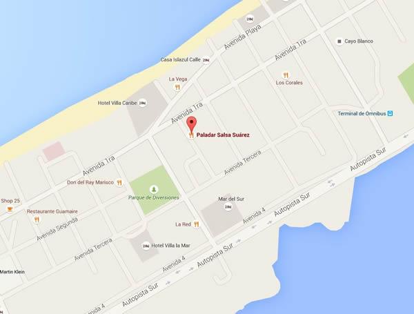 Restaurante Salsa Suarez ,Varadero, Cuba,mapa