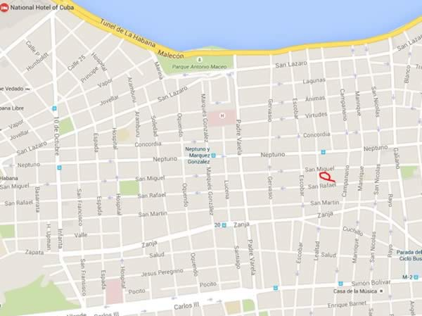 Paladar San cristobal,Havana,Cuba,map
