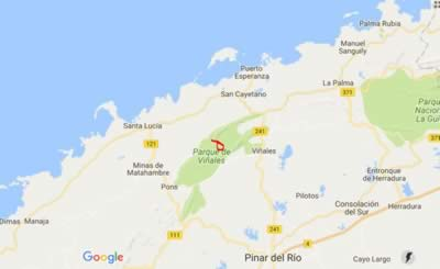Cueva de Santo Tomás, Viñales, Cuba,map