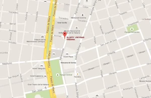 Sloppy Joe´s Bar,La Havana, Cuba,map