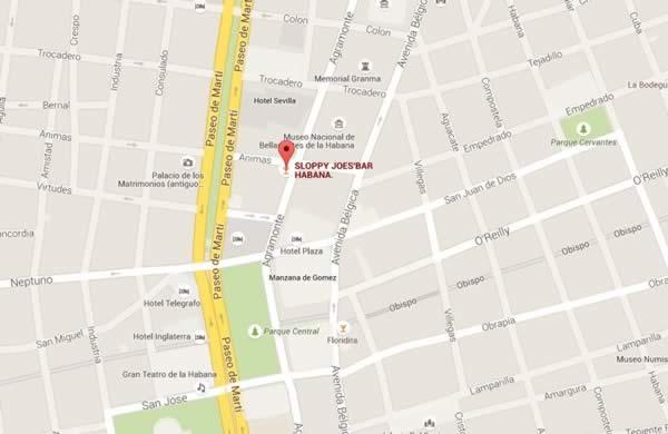 Bar Sloppy Joe´s, La Habana,Cuba, Mapa