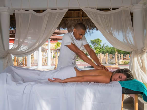 tourist getting a massage in the SPA