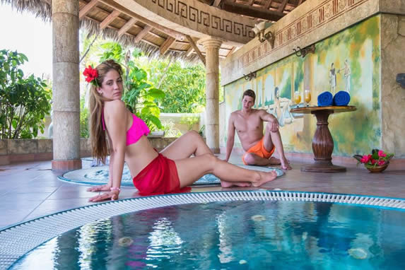 tourists in the indoor Jacuzzi of the SPA