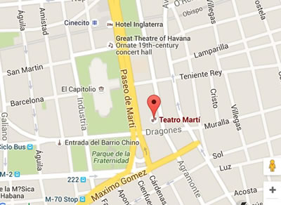 Teatro Martí, Havana Vieja, Cuba,mapa