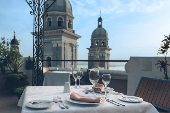 table served on terrace overlooking the city