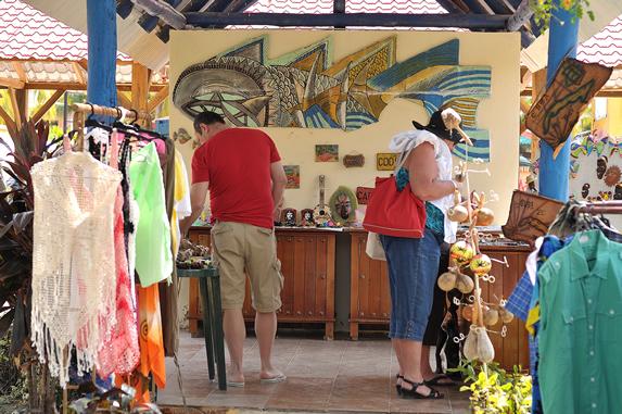 tourists in the hotel souvenir shop