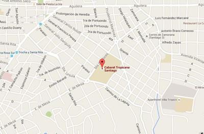 Cabaret Tropicana, Santiago de Cuba, Cuba,mapa
