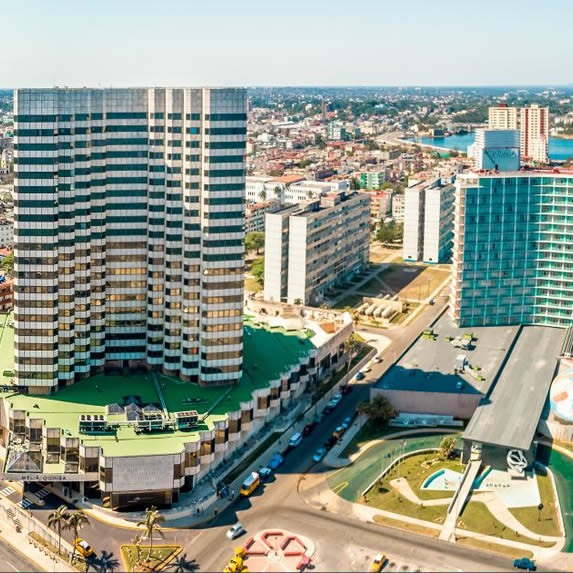Aerial view of the Melia Cohiba hotel