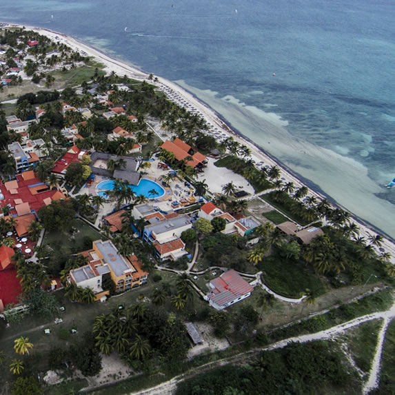 aerial view of the hotel facing the sea
