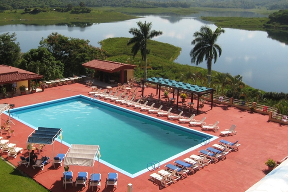 aerial view of the pool and the lagoon