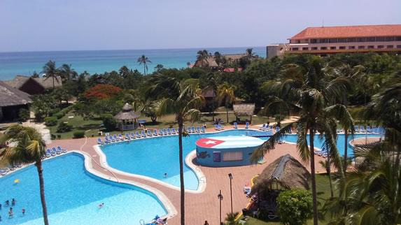 Aerial view of the Tuxpan hotel swimming pool