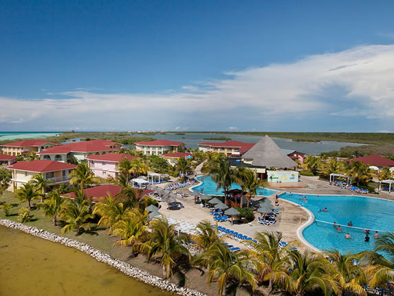 aerial view of the hotel by the lagoon