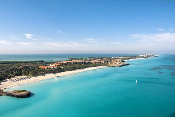aerial view of the blue water beach