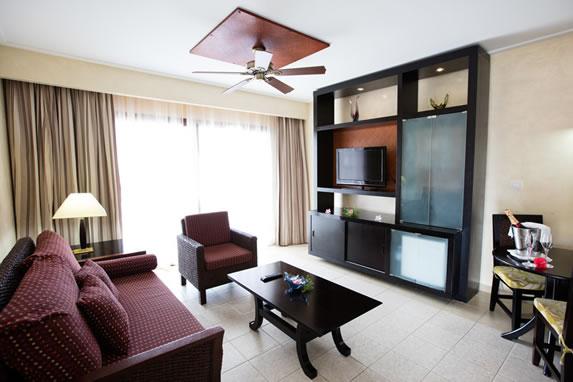 living room in hotel room