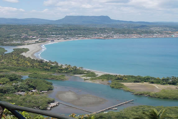 Aerial view of the 'Honey' beach in Baracoa