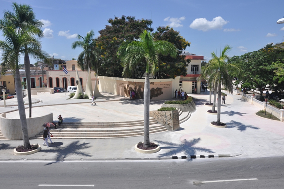 aerial view of the square with royal palms