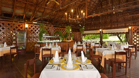 Restaurant with wooden floor and ceiling